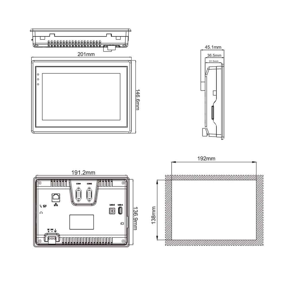 صفحه نمایش weconمدل PI3070N 7 inch